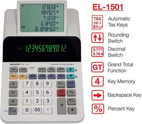 Picture of Sharp EL-1501 Cordless & Paperless Printing Calculator